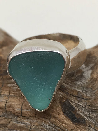 Light Teal Seaglass Ring, Size 6