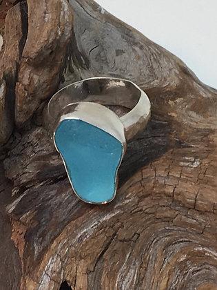 Aqua Seaglass Ring, Size 6 3/4