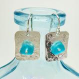 Aqua Seaglass on Silver Earrings
