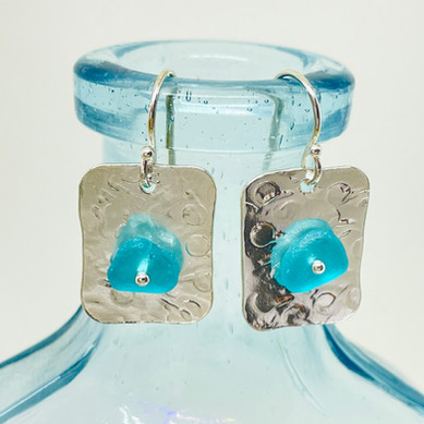Aqua Seaglass on Silver Earrings