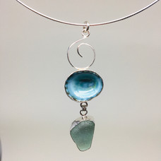 Limpet Shell and Seafoam Green Seaglass Necklace