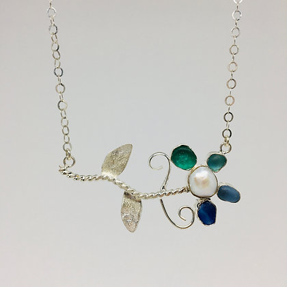 Flower Power Seaglass and Pearl Necklace