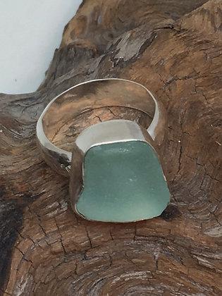 Seafoam Seaglass Ring, Size 10