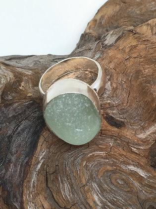 Light Seafoam Green Seaglass Ring, Size 10.5