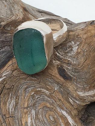 Aqua/Teal Seaglass Ring, Size 9