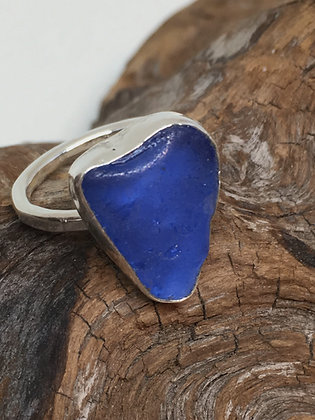Smoky Blue Seaglass Ring, Size 7