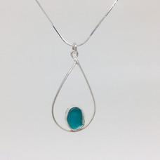 Infinity Aqua Seaglass Necklace