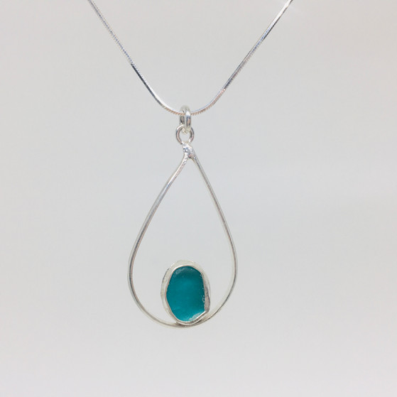 Infinity Aqua Seaglass Necklace