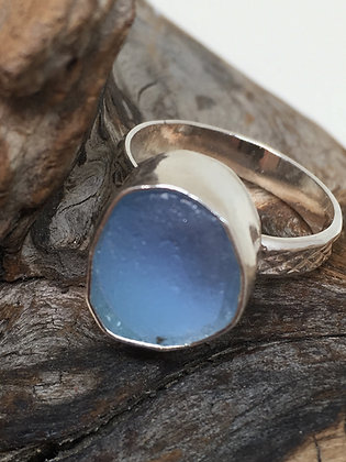 Sky Blue Seaglass Ring, Size 3