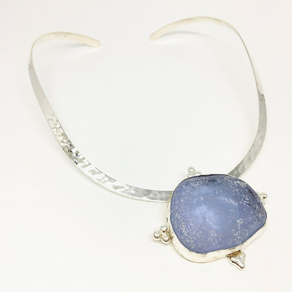 Lavender Blue Seaglass Necklace