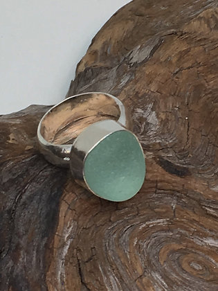 Seafoam Green Seaglass Ring, Size 6.5