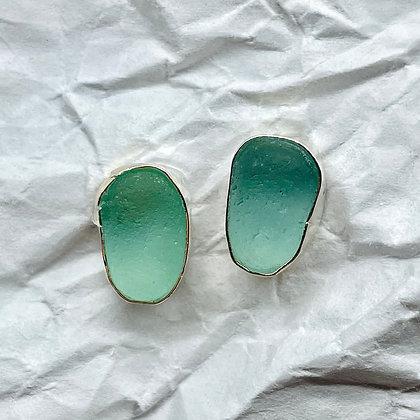 Green Eyes Seaglass Earrings