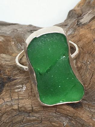 Brilliant Green Seaglass Ring, Size 8
