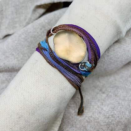 Peachy Wrap Seaglass Bracelet
