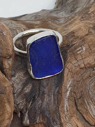 Cobalt Blue Seaglass Ring, Size 7