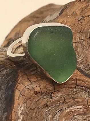 Seafoam Green Seaglass Ring, Size 6