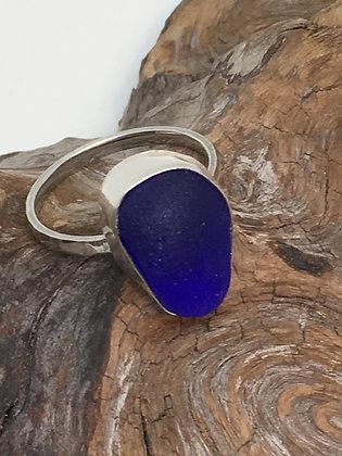 Cobalt Blue Seaglass Ring, Size 13