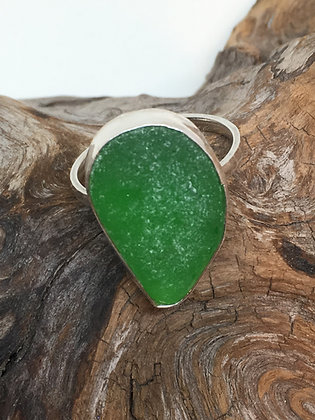 Green Seaglass Ring, Size 12
