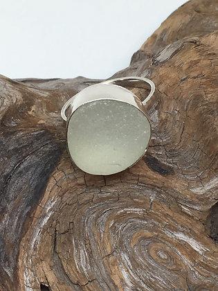White Seaglass Ring, Size 11.5