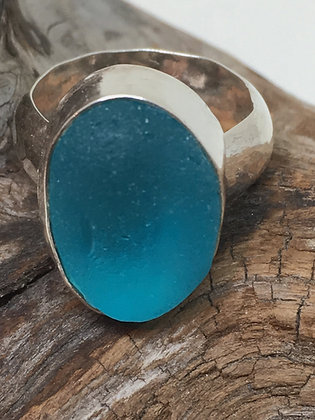 Aqua Seaglass Ring, Size 5.5