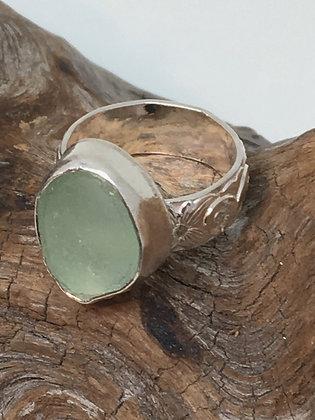Light Seafoam Green Seaglass Ring, Size 6