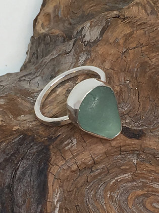 Seafoam Green Seaglass Ring, Size 7.5