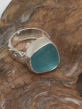 Aqua Seaglass Ring, Size 6