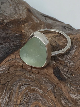 Light Seafoam Green Seaglass Ring, Size 6