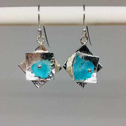 Aqua Squares Seaglass Earrings