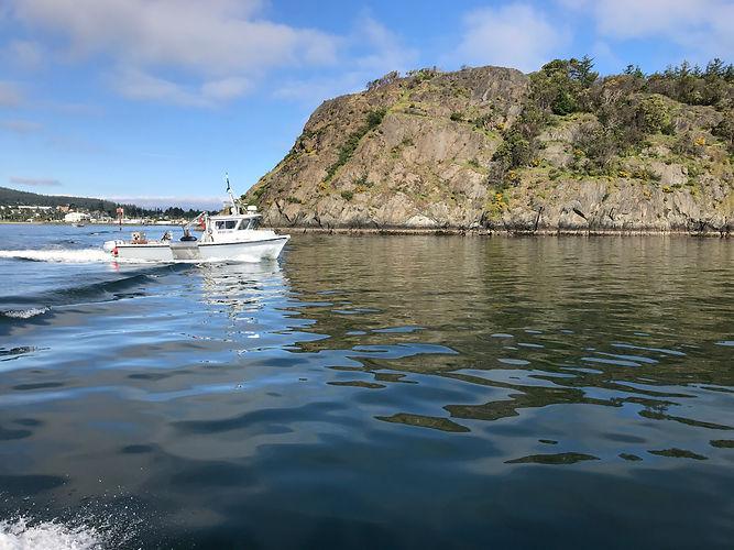 Crab fishing boat leaving harbor