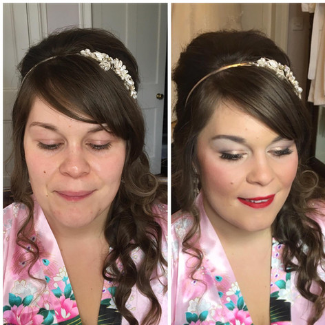 Bridal makeup in Powys, Wales.