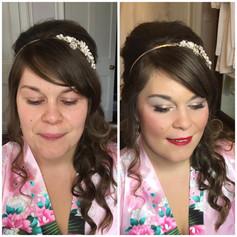 Bridal makeup in Powys, Wales.