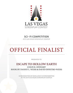 Las Vegas screenplay Contest Certificate