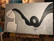 """""""The little stringer """" Acrylic on canvas 119 x 80 cm Describes depression."""