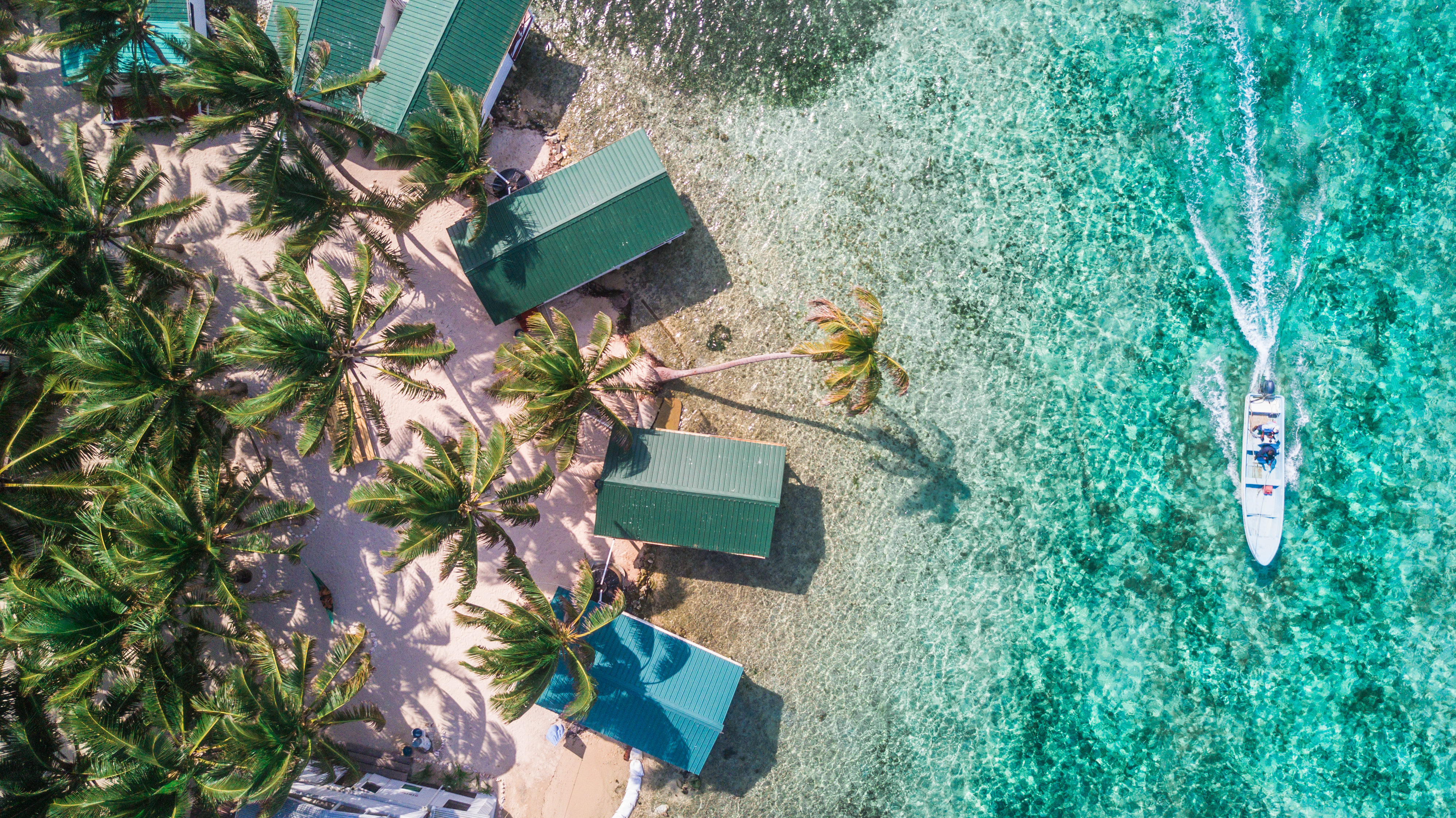 Tobacco Caye aerial in Belize barrier re