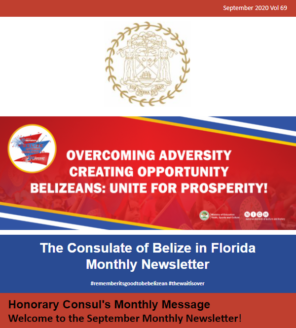 Consulate of Belize in Florida e-Newsletter, September Edition