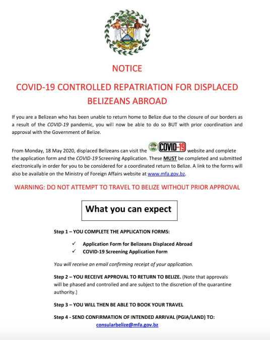 COVID-19 CONTROLLED REPATRIATION FOR DISPLACED BELIZEANS ABROAD
