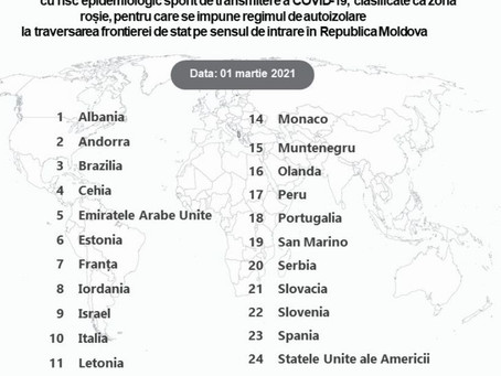 Молдова обновила список стран «красной зоны»: включены 26 государств