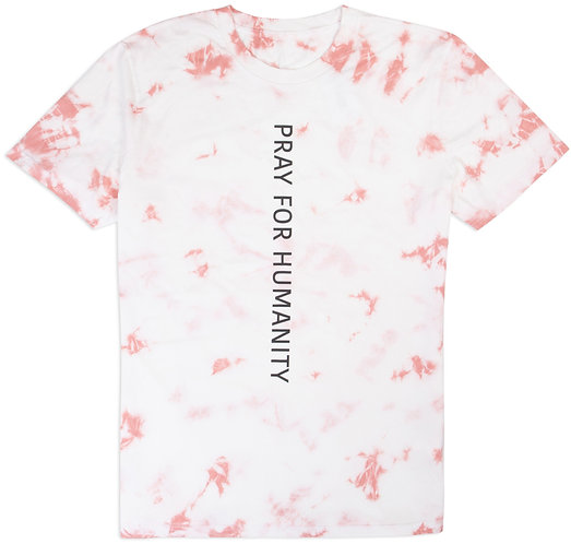 """""""PRAY FOR HUMANITY"""" CORAL TIE DYE T-SHIRT"""