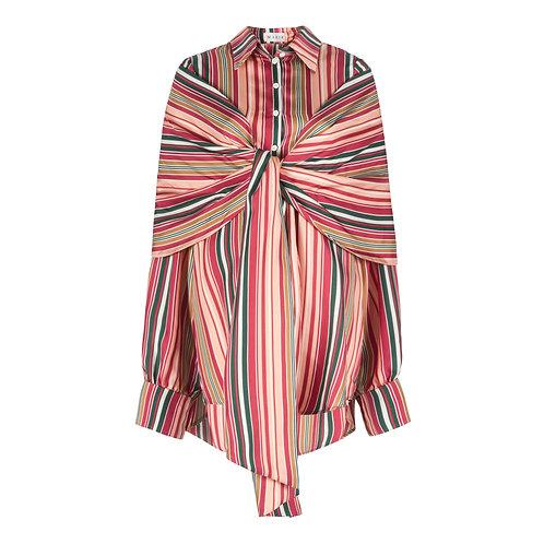 Striped Wrap Shirt Dress