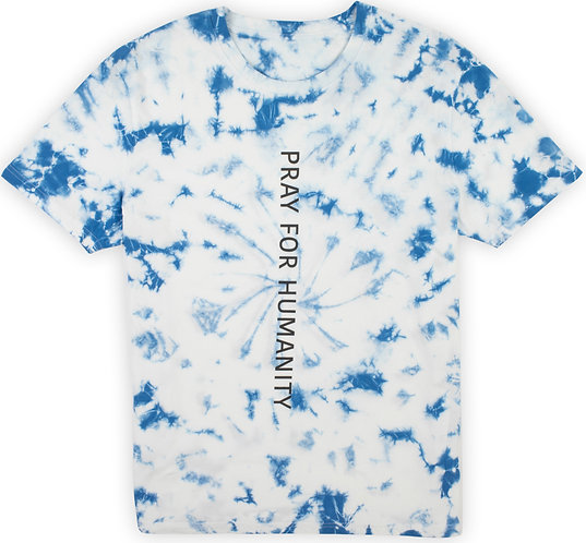 """PRAY FOR HUMANITY"" BLUE TIE DYE T-SHIRT"