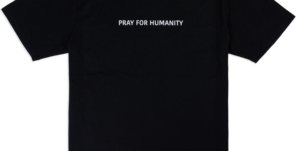 """PRAY FOR HUMANITY"" BLACK BASIC T-SHIRT"
