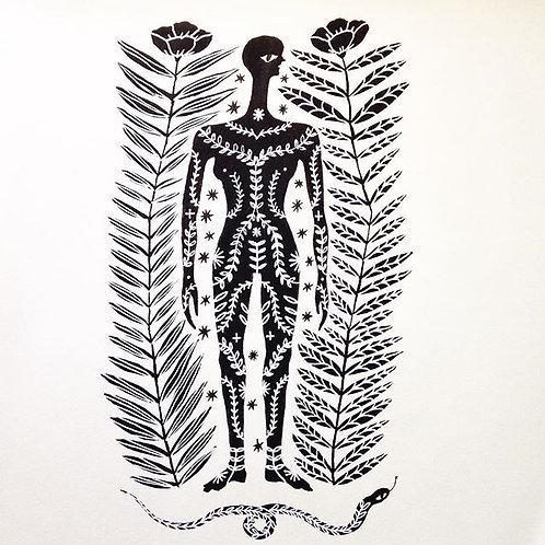 woman / garden / snake