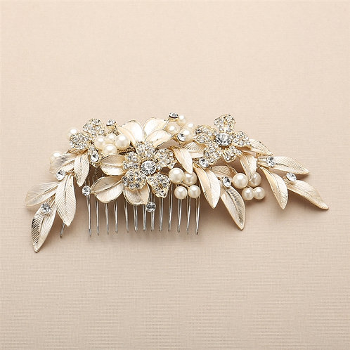 Painted Leaves and Pave Crystals Bridal Hair Comb