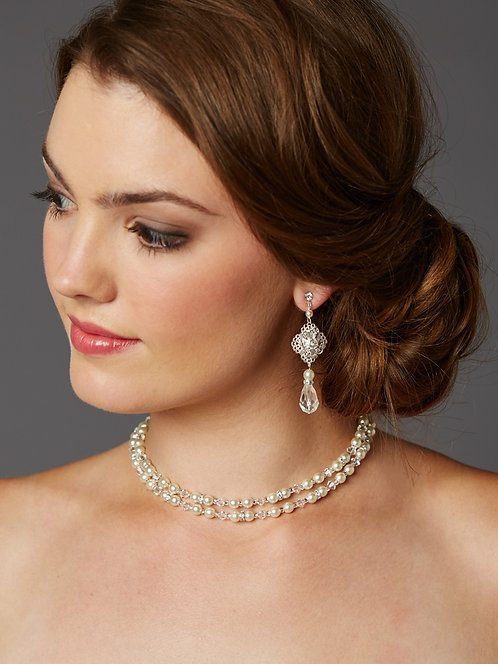 Filigree Pearl Lariat Bridal Necklace and Matching Earrings- Sample