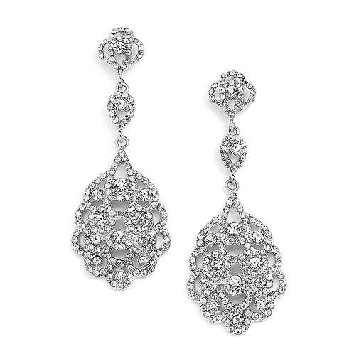 Antique Silver Vintage Bridal Chandelier Earrings
