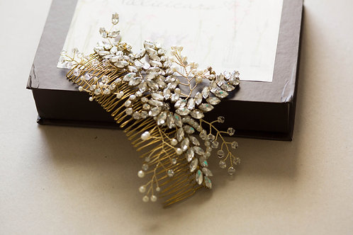 Large Hand Wired Gold Bridal Hair Comb
