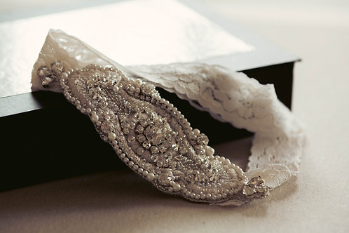 Ivory and Silver Wedding Garter