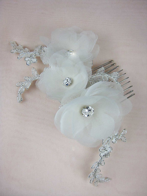 Lara Bridal Hair Flower with Silver Lace