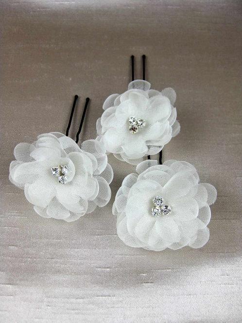 Devon Bridal Flower Hair Pins- Set of 3
